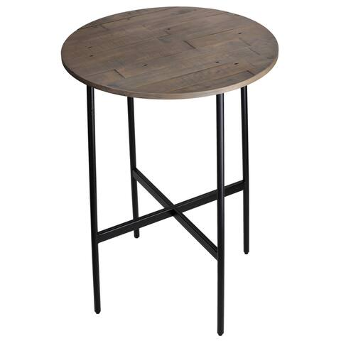"Cortesi Home Jayden 30"" Industrial Style Wood Bar Table, with Black Metal Frame"