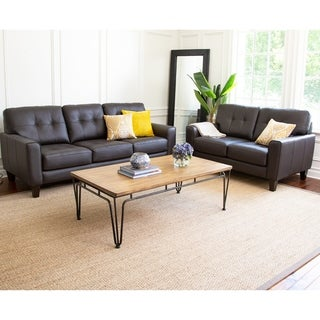 Abbyson Ballard Brown Tufted 2 Piece Living Room Set