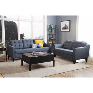 Abbyson Nathan Navy Tufted Fabric 2 Piece Living Room Set