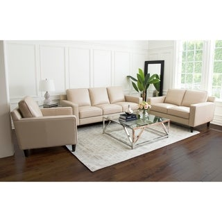 Abbyson Milton 3 Piece Top Grain Leather 3 Piece Living Room Set