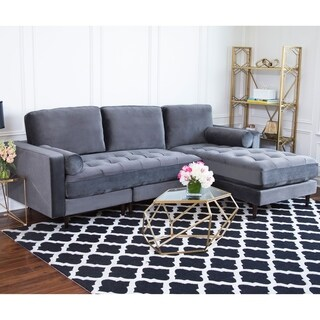 Abbyson Maddie Charcoal Grey Velvet Reversible Sectional