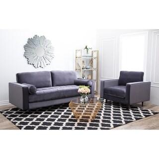 Abbyson Maddie Charcoal Grey 2 Piece Tufted Velvet Sofa and Armchair