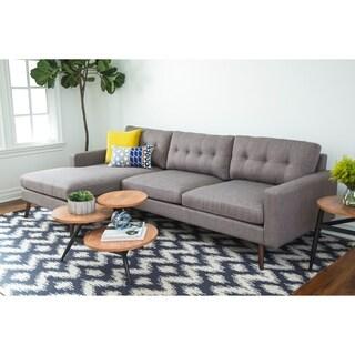 Abbyson Donovan Mid Century Reversible Fabric Sectional Sofa