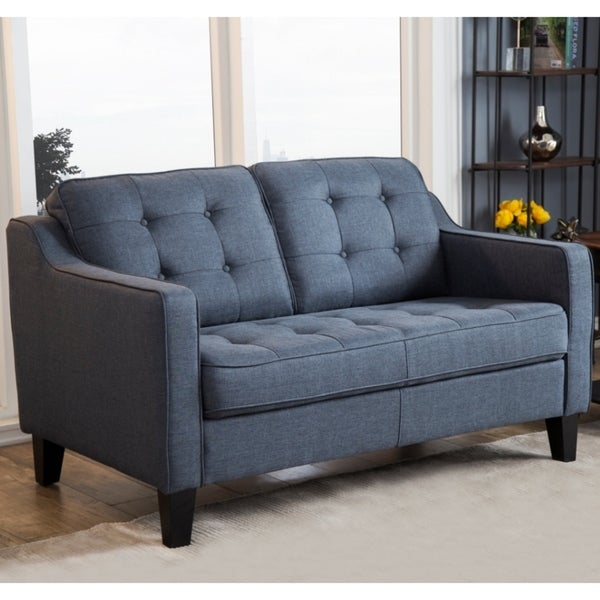 Shop Abbyson Nathan Navy Tufted Fabric Loveseat On Sale Free