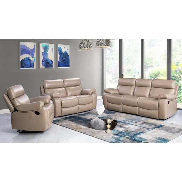 shop abbyson clayton beige top grain leather reclining 3 piece living room set on sale free. Black Bedroom Furniture Sets. Home Design Ideas