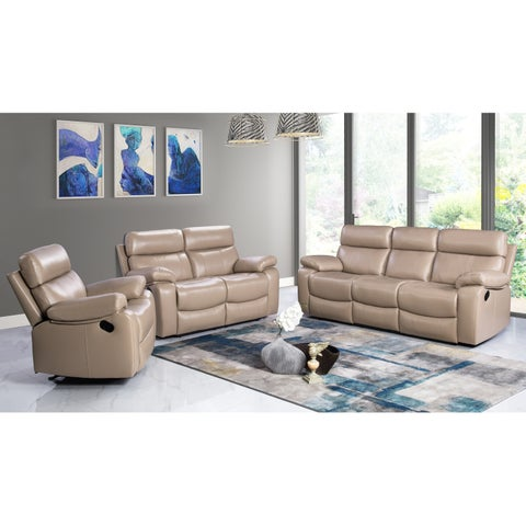 Abbyson Clayton Beige Top Grain Leather Reclining 3 Piece Living Room Set