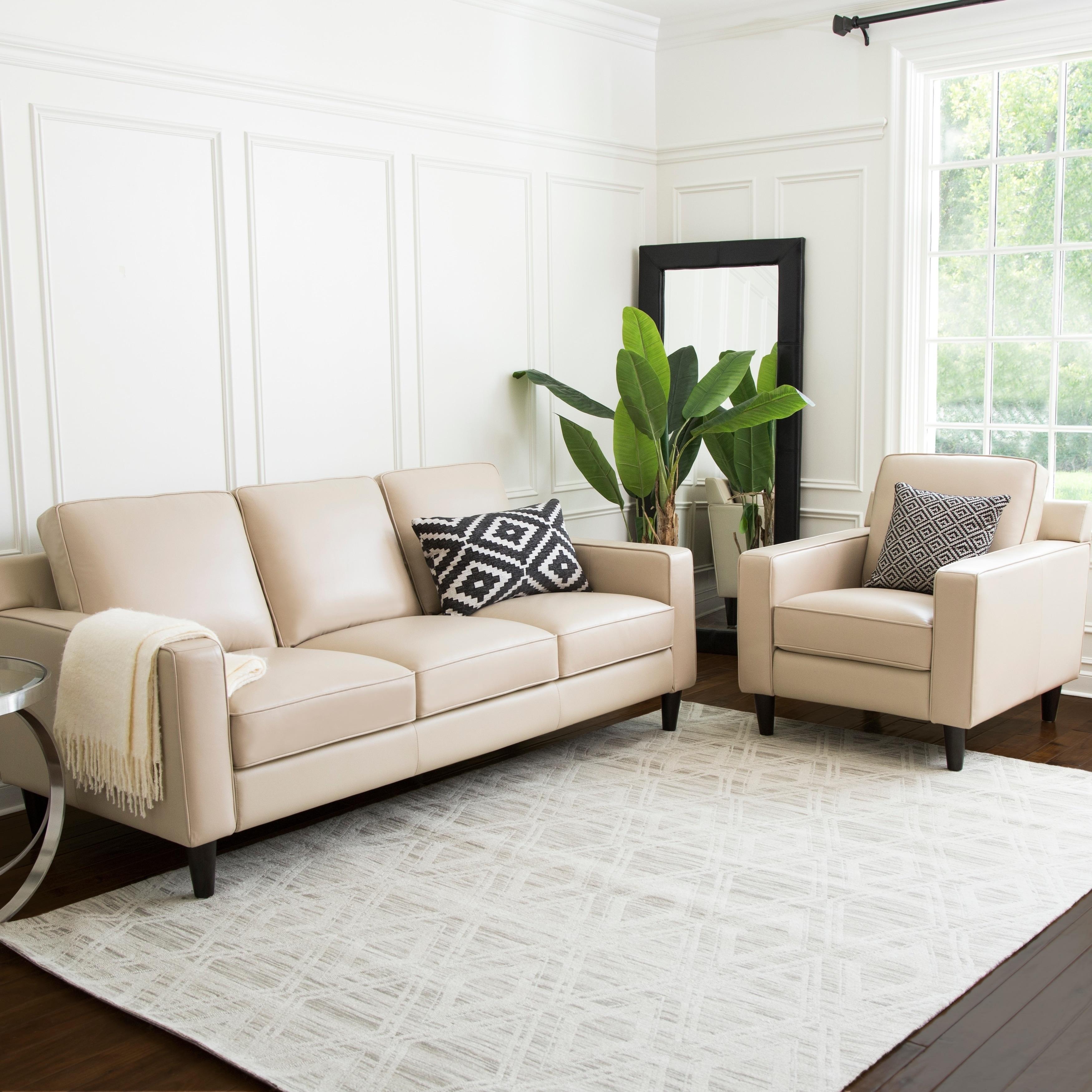 Abbyson Milton 2 Piece Top Grain Leather Living Room Set