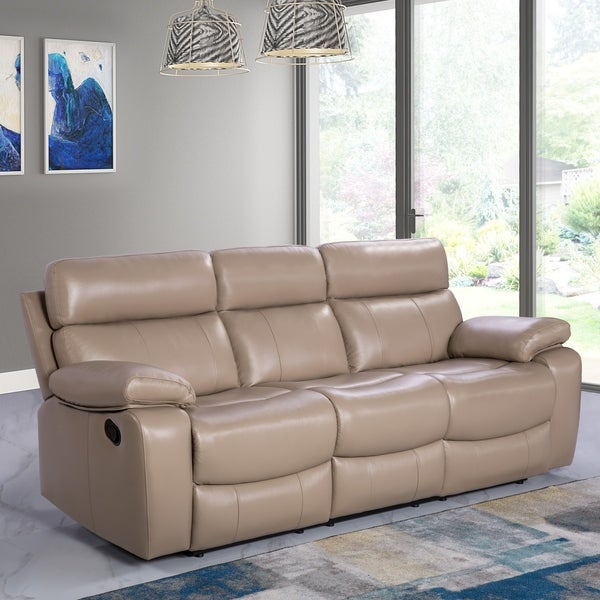 Abbyson Clayton Beige Top Grain Leather Reclining Sofa