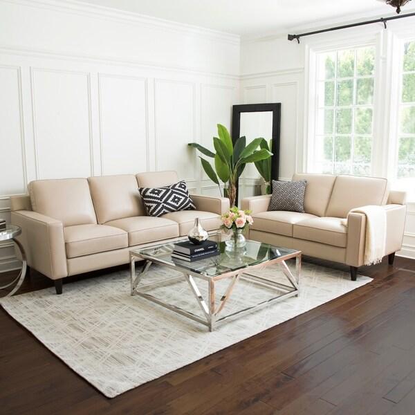 Shop Abbyson Milton 2 Piece Top Grain Leather Living Room