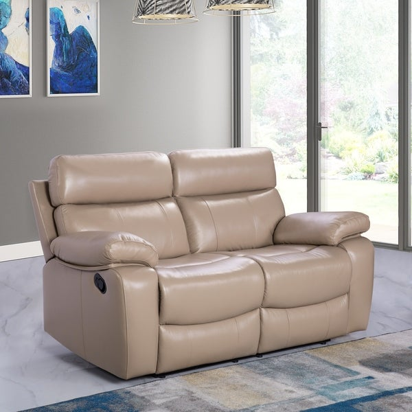 Shop Abbyson Clayton Beige Top Grain Leather Reclining