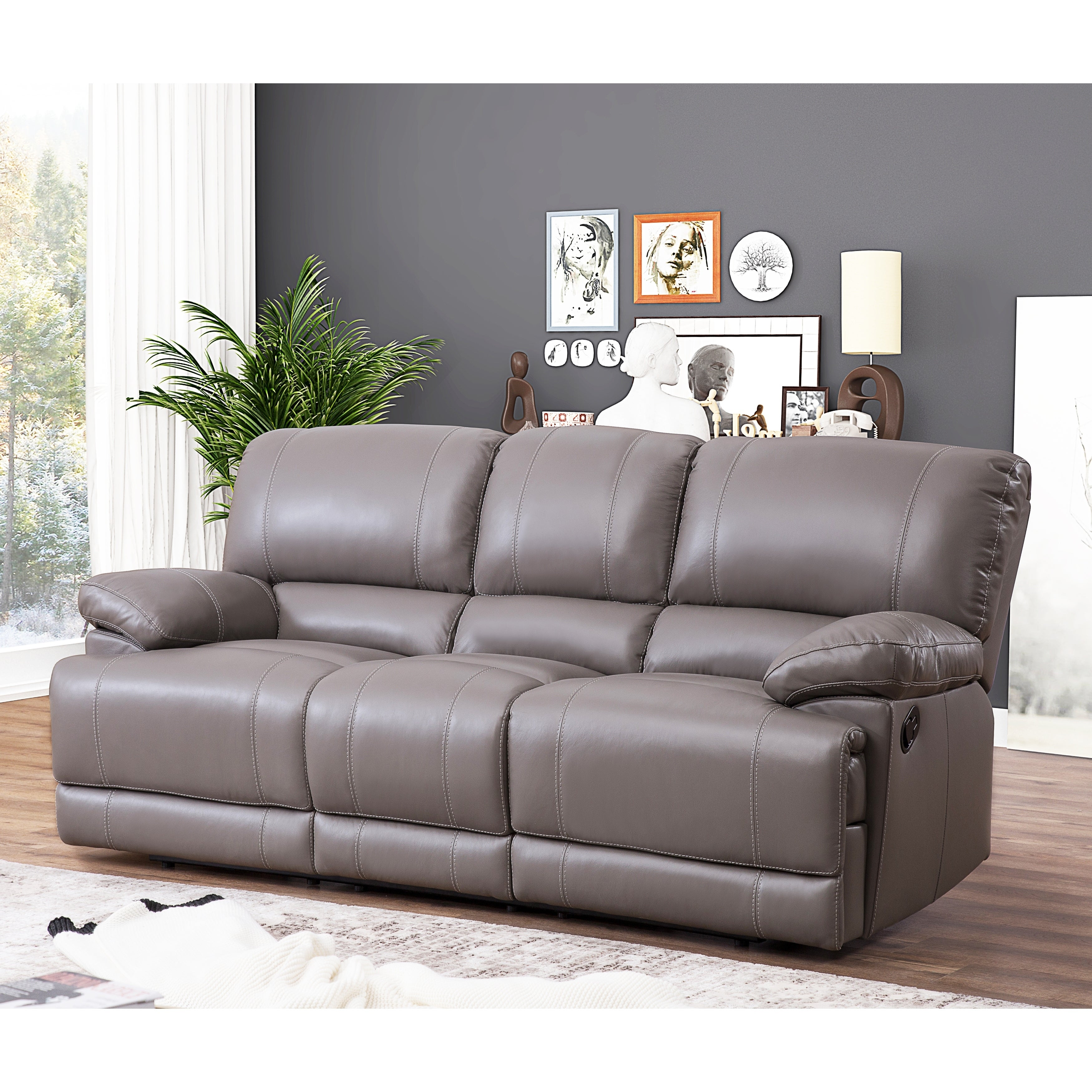 Phenomenal Abbyson Remmy Grey Top Grain Leather Reclining Sofa Gmtry Best Dining Table And Chair Ideas Images Gmtryco