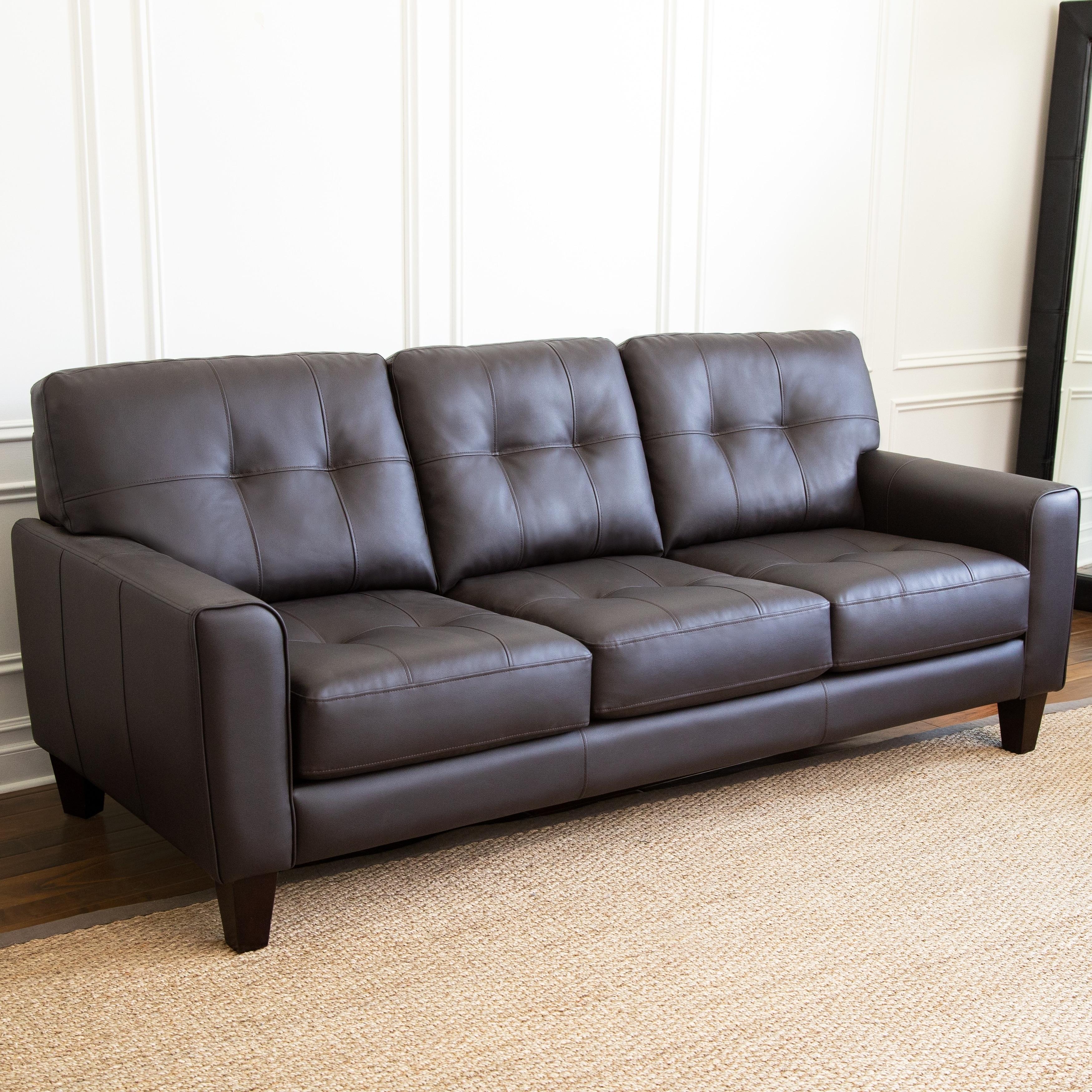 Abbyson Ballard Brown Tufted Sofa
