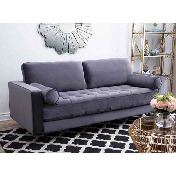 velvet sofa for sale mustard abbyson maddie charcoal grey tufted velvet sofa shop on sale