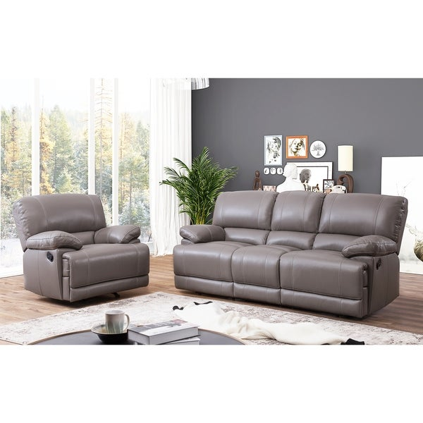 Shop abbyson remmy grey top grain leather reclining 2 piece living room set on sale free 2 piece leather living room set