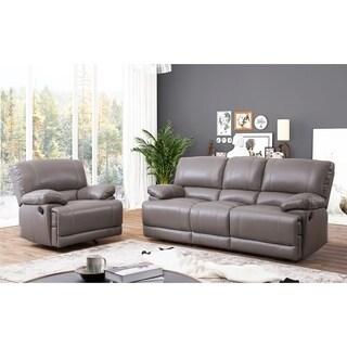 Shop Abbyson Remmy Grey Top Grain Leather Reclining Sofa
