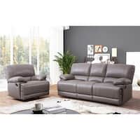 Abbyson Remmy Grey Top Grain Leather Reclining 2 Piece Living Room Set