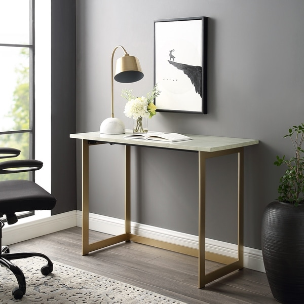 Shop 42 Quot Faux Marble Writing Desk On Sale Free