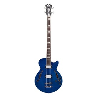D'Angelico Premier Hollow-Body Electric Bass Guitar - Trans Blue