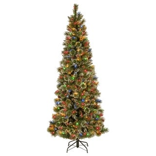 7 ft. PowerConnect(TM) Glittering Pine Pencil Slim Tree with Multicolor Lights