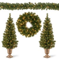 National Tree Company Pre-Lit Decorative Entrance Tree, Wreath and Garland Promotional Assortment - N/A