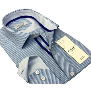 DMITRY Men's Slim Light Blue Textured Italian Cotton Dress Shirt