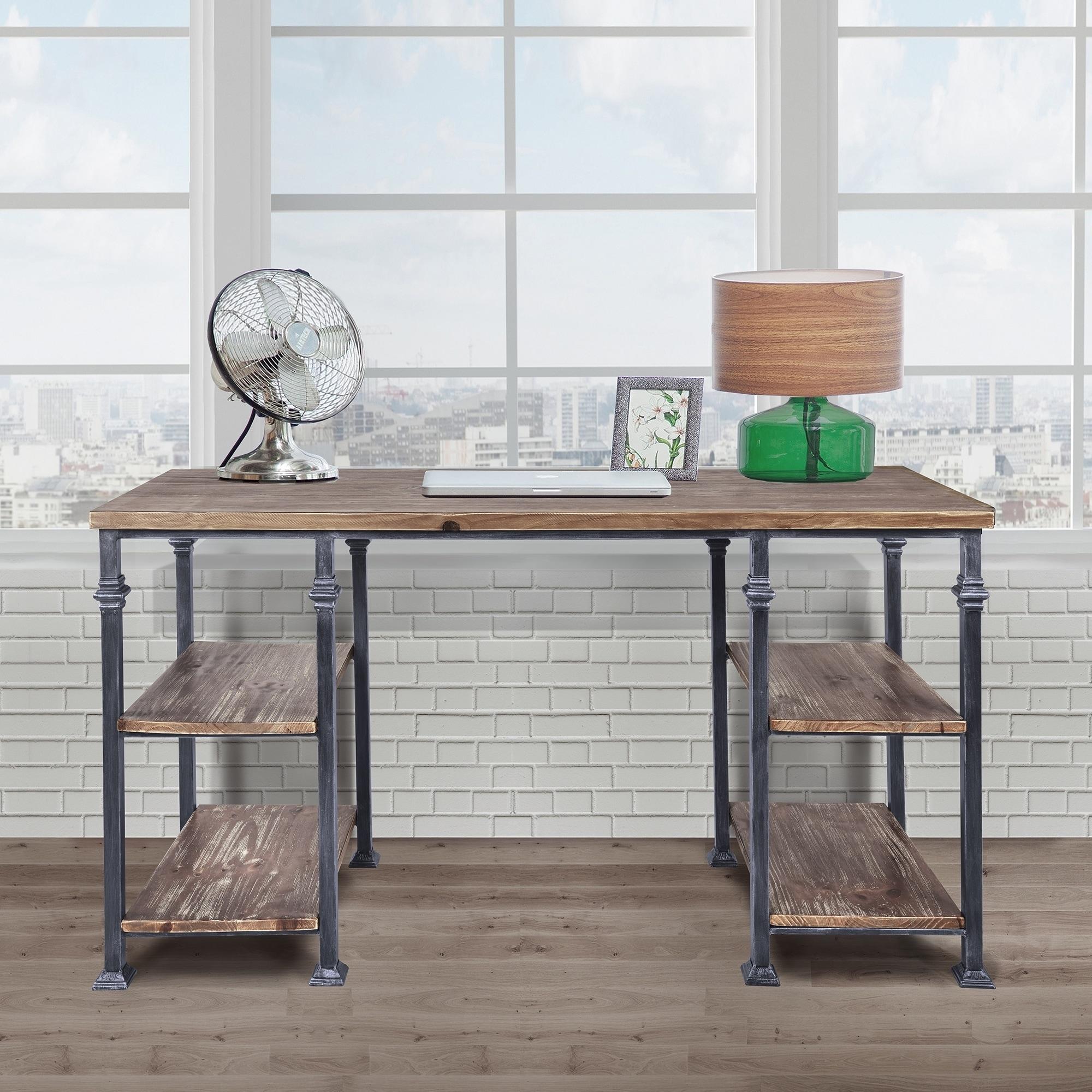 Armen Living Liam Industrial Desk in Industrial Grey and Pine Wood Top