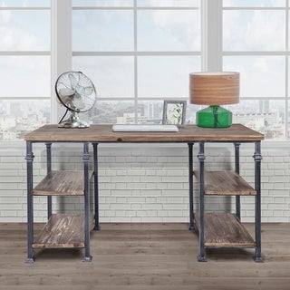 Liam Industrial Desk in Industrial Grey and Pine Wood Top