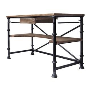 Armen Living Theo Industrial Desk in Industrial Grey and Pine Wood Top