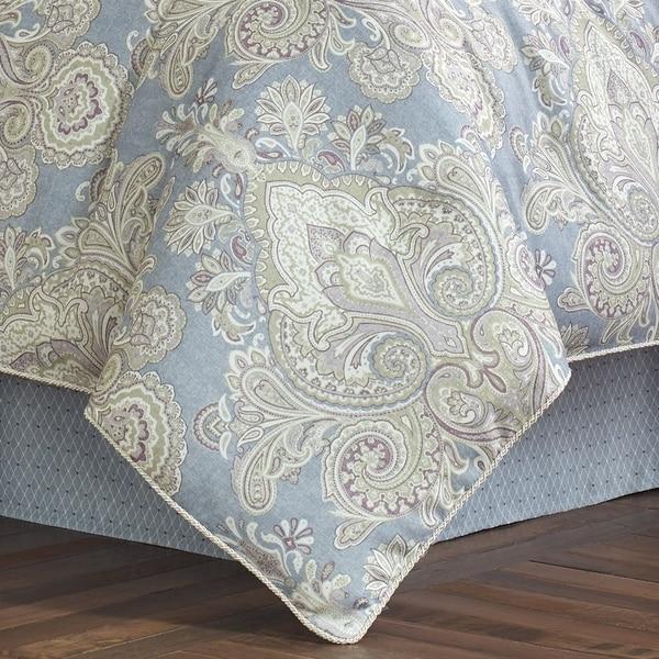 Queen Royal Court Palermo Harlequin Medallion 4 Piece Comforter Set Blue