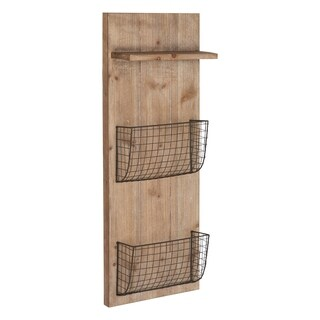 Kate and Laurel Wilden Wood and Metal Pocket Wall Organizer - 12x31