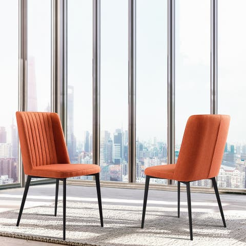 Armen Living Maine Contemporary Dining Chair in Matte Black Finish and Orange Fabric - Set of 2