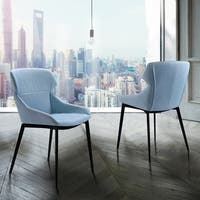 Flagstaff Modern Dining Chair in Matte Black Finish and Blue Fabric - Set of 2