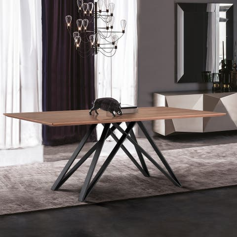 Modena Rectangular Dining Table in Matte Black Finish and Walnut Wood Top
