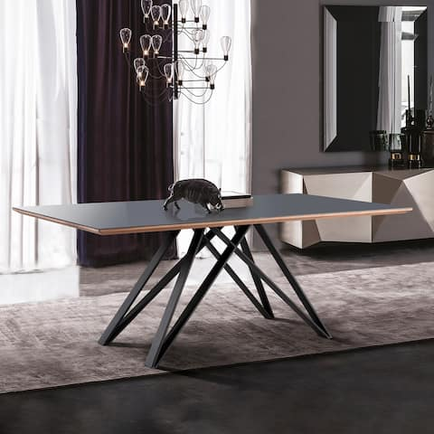 Urbino Dining Table in Matte Black Finish with Walnut and Dark Gray Glass Top