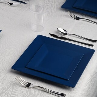 Kaya Collection - Standard Square Disposable Plastic Dinnerware Party Package