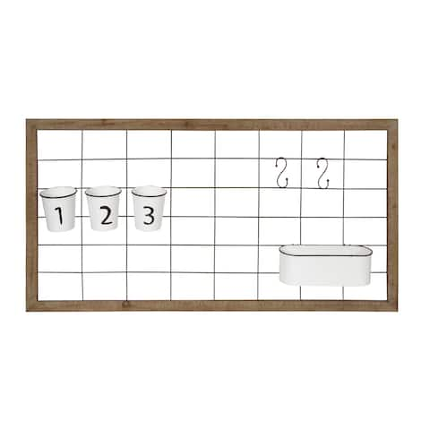 Kate and Laurel Herrington Wall Storage Grid with Metal Containers