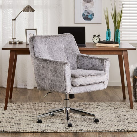 Serta Style Ashland Home Office Chair, Gray Faux Fur
