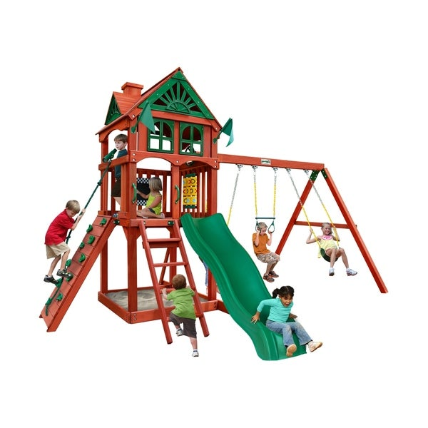 Shop Gorilla Playsets Five Star Ii Wooden Swing Set With Rock Wall