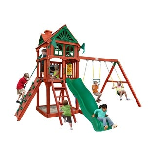 Gorilla Playsets Five Star II Wooden Swing Set with Rock Wall - Redwood