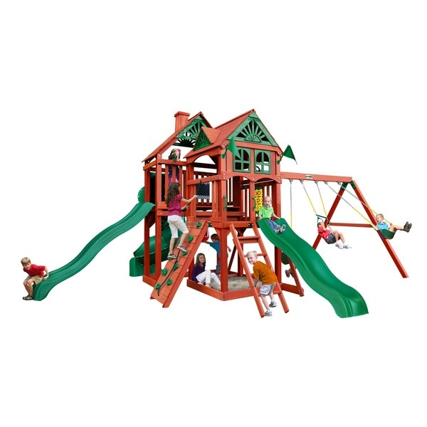 Gorilla Playsets Five Star Ii Deluxe Wooden Swing Set With Tube Slide