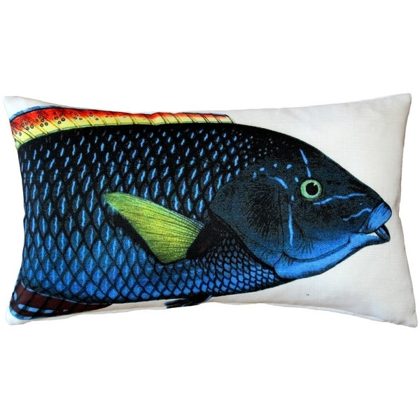 Pillow Decor - Blue Wrasse Fish Pillow 12x20