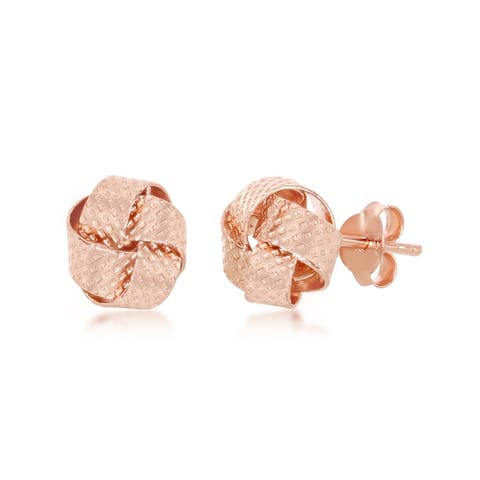 La Preciosa Sterling Silver Italian Rose Gold Plated or Gold Plated Textured Love Knot Stud Earrings - 8mm