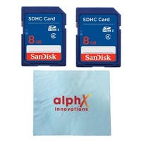2 Pack - SanDisk 8GB SDHC Class 4 Memory Card with Alphax Innovation Microfiber Cloth