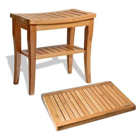 Bambusi Shower Seat Bench w/ Bathroom Floor Mat for Indoor/Outdoor