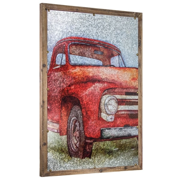Vintage Truck Print On Metal Farmhouse Wall Art Decor