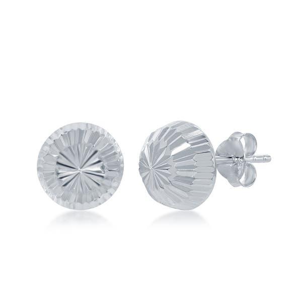 0cdb1fbc6 Shop La Preciosa Silver Sterling Italian Diamond-Cut Half Bead Stud Earrings  - 8mm - On Sale - Free Shipping On Orders Over $45 - Overstock - 22851239
