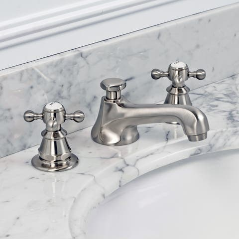 American 20th Century Classic Widespread Lavatory F2-0009 Faucets with Pop-Up Drain in Brushed Nickel Finish