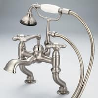 Water Creation Vintage Classic Brushed Nickel Finish Brass Adjustable Center Deck Mount Tub Faucet with Handheld Shower