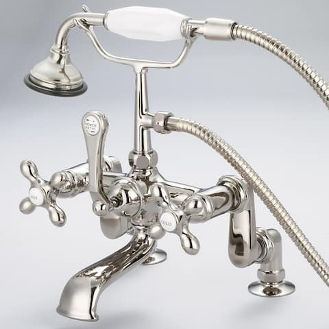 Vintage Classic Adjustable Center Deck Mount Tub Faucet with Handheld Shower in Polished Nickel (PVD) Finish