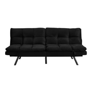 Simmons Portland Convertible Sofa with Memory Foam Seating, Black